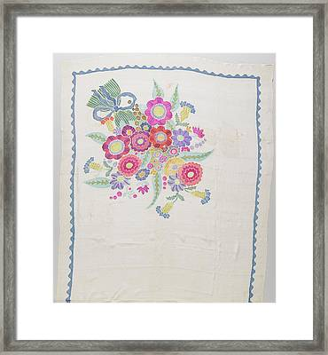 Scarf Crepe De Chine With A White Ground Framed Print