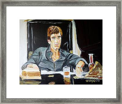 Framed Print featuring the painting Scarface by Judy Kay