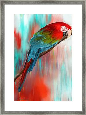 Scarlet- Red And Turquoise Art Framed Print