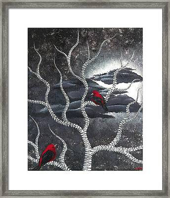 Framed Print featuring the painting Scarlet Night by Oddball Art Co by Lizzy Love