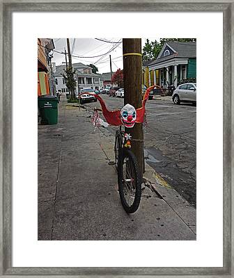 Scary Clown Bike In New Orleans Framed Print