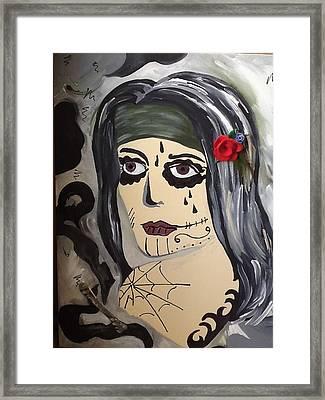 Scary Girl Framed Print by Karen Carnow