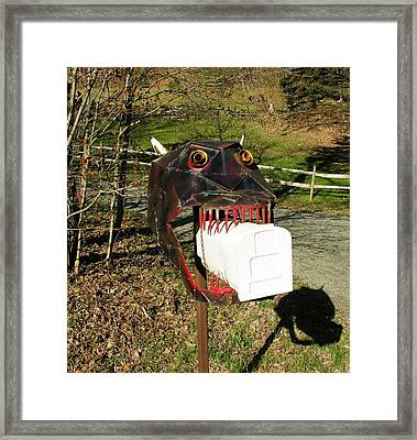 Framed Print featuring the photograph Scary Mailbox 2 by Sherman Perry