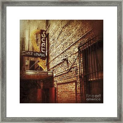 Scat Jazz Lounge Framed Print by Elena Nosyreva