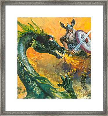 Scene From Beowulf Framed Print by Andrew Howat