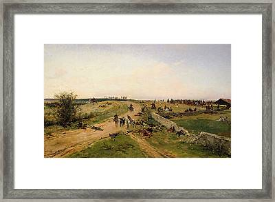 Scene From The Franco-prussian War Oil On Canvas Framed Print
