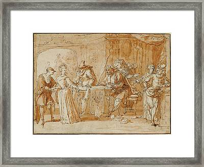 Scene From The Italian Comedy Recto,  Figure Study Verso Framed Print by Litz Collection