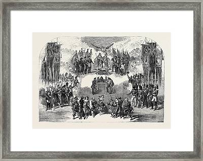 Scene From The New Christmas Pantomime Of Ye Belle Alliance Framed Print