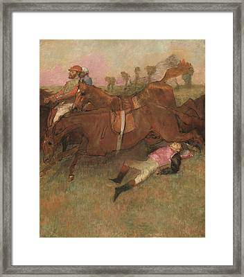 Scene From The Steeplechase The Fallen Jockey Framed Print by Edgar Degas