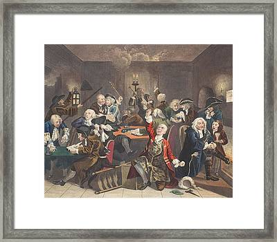 Scene In A Gaming House, Plate Vi Framed Print by William Hogarth