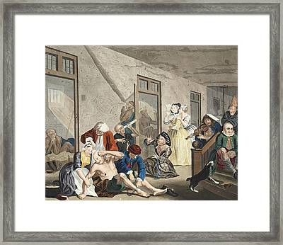 Scene In Bedlam, Plate Viii, From A Framed Print by William Hogarth