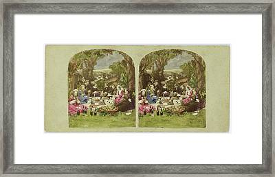 Scene In Garden Company During Picnic, Anonymous Framed Print