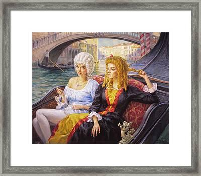Scene In Gondola. Venice. Framed Print