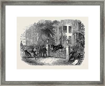 Scene In Privy Gardens, Whitehall Framed Print