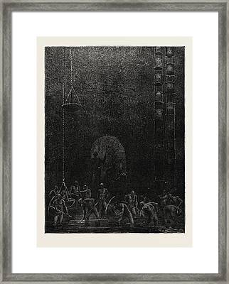 Scene In The Diamond Mines Of Poonah Framed Print by English School