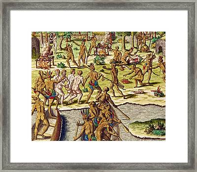 Scene Of Cannibalism Framed Print by Theodore de Bry