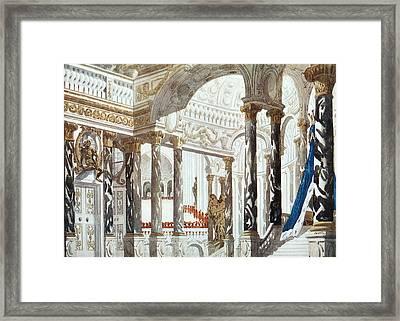 Scenery Design For The Baptism Framed Print by Leon Bakst