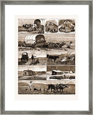 Scenes From An Emigrants Life In Manitoba Framed Print