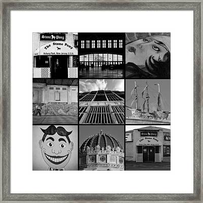 Scenes From Asbury Park New Jersey Collage Black And White Framed Print by Terry DeLuco