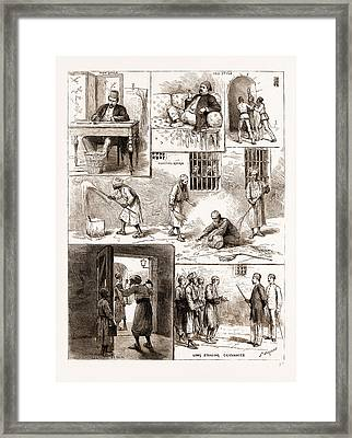 Scenes From The Egyptian Prisons, Cairo, 1883 Sweeping Framed Print