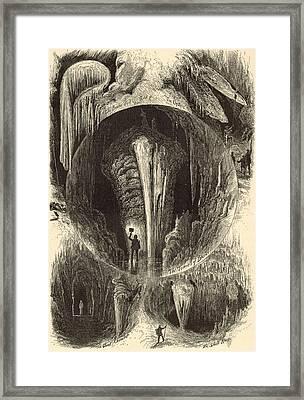 Scenes In Weyer's Cave Virginia 1872 Engraving Framed Print by Antique Engravings