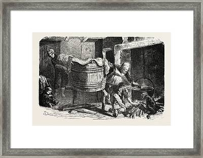 Scenes Of Country Life The Laundry. Studies By Damourette Framed Print