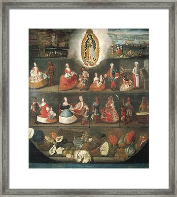 Scenes Of Mestizaje. Circa 1750. Casta Framed Print by Everett