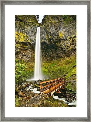 Scenic Elowah Falls In The Columbia River Gorge In Oregon Framed Print