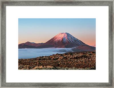 Scenic Landscape With Ngauruhoe Volcano Framed Print by Matteo Colombo