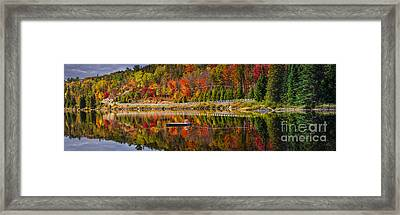 Scenic Road In Fall Forest Framed Print