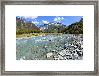 Scenic Valley In New Zealand Framed Print by Alexey Stiop