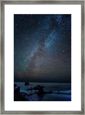 Scenic View Of Beach Against Star Field Framed Print