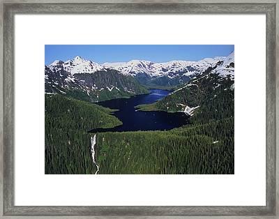 Scenic View Of Big Goat Lake, Misty Framed Print