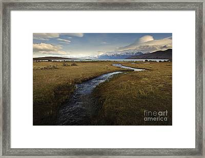 Scenic View Of Lake Viedma Framed Print by John Shaw