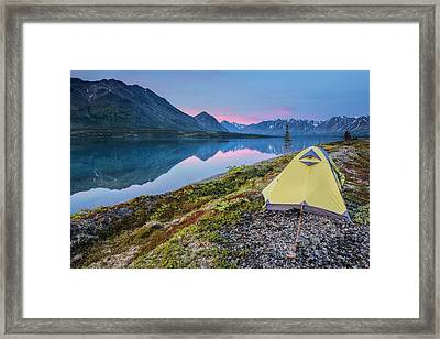 Scenic View Of Lower Twin Lake Framed Print by Carl Johnson