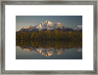 Scenic View Of Pioneer Peak Reflecting Framed Print by Hal Gage