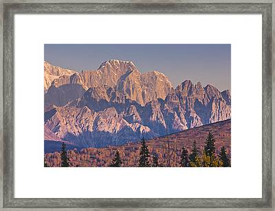 Scenic View Of Sunrise On Mooses Tooth Framed Print