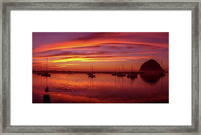 Scenic View Of The Morro Bay At Dusk Framed Print