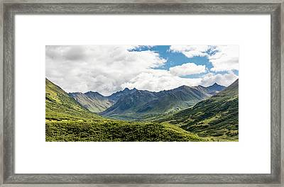 Scenic View Of The Talkeetna Mounts Framed Print by Ray Bulson