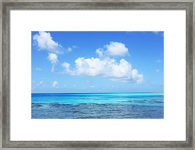 Scenic View Of Turquoise Sea Against Sky Framed Print by Fred Bahurlet / Eyeem