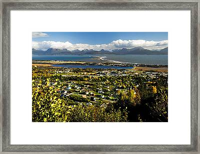 Scenic View Overlooking The Town Of Framed Print by Bill Scott