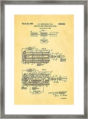Schawlow Laser Patent Art 1960 Framed Print
