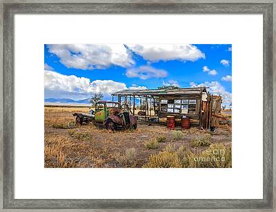 Schellbourne Station And Vintage Truck Framed Print