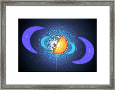 Schematic Of Van Allen Radiation Belts Framed Print by Mark Garlick