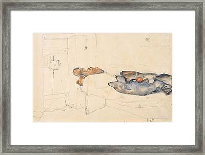 Schiele's Drawing Of His Prison Cell In Neulengbach Framed Print by Celestial Images
