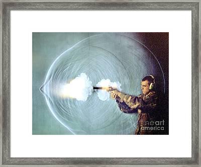 Schlieren Photo Of Gun Firing Framed Print by Gary S. Settles