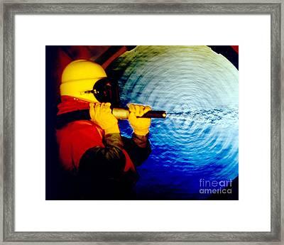 Schlieren Photo Of Sandblasting Framed Print by Gary S. Settles