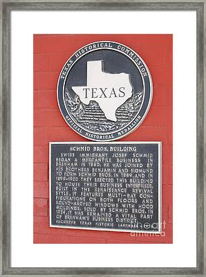 Schmid Brothers Building Historical Marker Framed Print by Connie Fox
