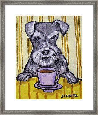 Schnauzer At The Coffee Shop Framed Print by Jay  Schmetz