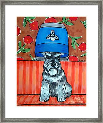 Schnauzer At The Salon Framed Print by Jay  Schmetz
